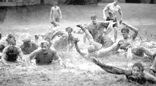 students play in floodwater, JMU 1996