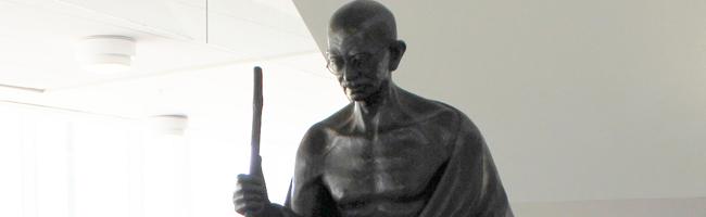 Photo of Mohandas Karamchand Gandhi statue in Rose Library